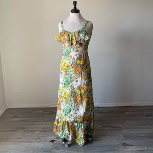 Dresses & Skirts - Vintage 1960s Yellow Floral Handmade Maxi Dress